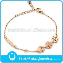 Traje de acero inoxidable exquisito encantador oro rosa pulsera esposas joyas con flor rosa colgante para las mujeres