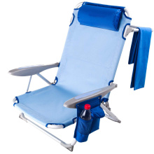 4 Positions Lay Flat Low Seat Folding Beach Chair