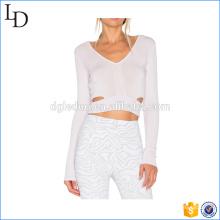 Camiseta blanca de la aptitud de la yoga de las camisas del gimnasio de la manga de las correas blancas de la cintura
