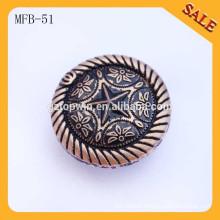 MFB51 Fashion new design round antique copper metal jeans button for garment