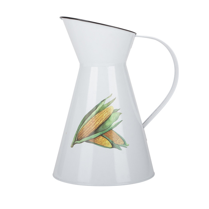 White Metal Flower Pitcher Jug