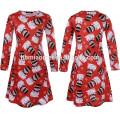 Wholesale Family Matching Clothing For Girl Children Wear Printed Long Sleeve Christmas Flower Girl Dress