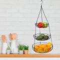 Corbeille à fruits suspendue en fil métallique en acier inoxydable à 3 niveaux