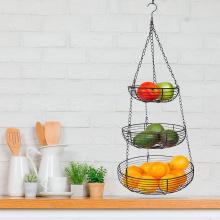 Cesta de frutas colgante de alambre de metal de acero inoxidable de 3 niveles