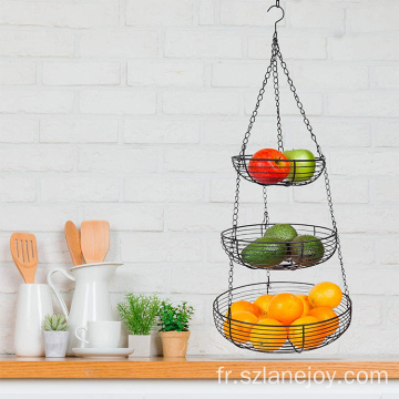 Modern round 3 tier fruit basket hanging heavy duty wire fruit basket with 2 metal ceiling hooks