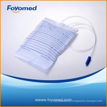 Melhor-venda e grande qualidade 2000ml saco de drenagem urinária com CE, certificação ISO