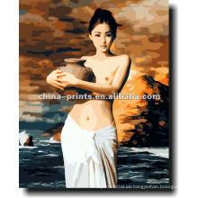 Pintura al óleo desnuda atractiva del retrato de las mujeres