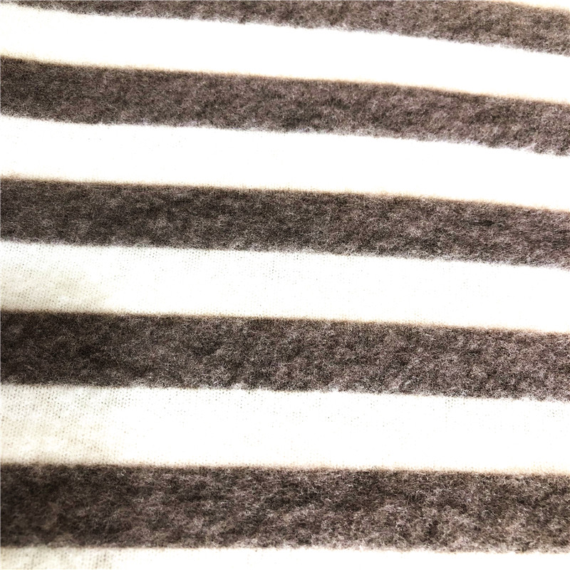 T/R/SPX stripe print brushed cashmere fabric