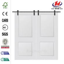 60 in. x 80 in. Cambridge Smooth Composite Double Barn Door with Sliding Door Hardware Kit