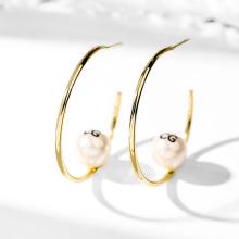 DARA Round Drop Earrings With Pearl Ball Earring
