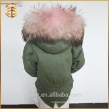 Child Winter Multi Color Raccoon Hooded Faux Coat Fur Parka
