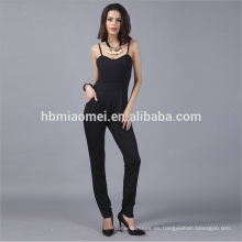 Moda negro arnés sin espalda Jumpsuits Rompers mujeres satinado Rompers