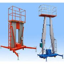 Plataforma de trabalho hidráulica do alumínio da liga dobro do mastro