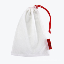 Custom Drawstring RPET Mesh Pouch/ White Small Polyester Mesh Drawstring Bag