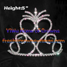Big Heart Shaped Lovely Rhinestone Crowns
