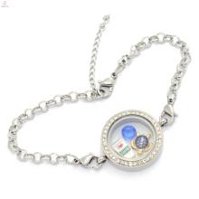Aço inoxidável por atacado fazer memória pingente medalhão de cristal pulseira, pulseira suprimentos