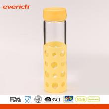 Everich Borosilikat Hochwertige Trinkglas-Wasserflasche mit Silikonhülle