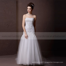 Charming Bling Beads & Lace Boat Neck Mermaid Croset Back Wedding Dress with delicate pleated handwork