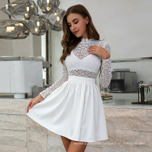 Weixin Shein Womens Clothing Long Sleeve White Lace Dew Waist Cutout Skater Mini Party Casual Dress