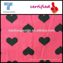 2016 new spring design for ELAND 100 cotton with heart shape printing twill weave wool feeling flannel fabric