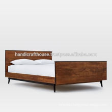 Industrial Walnut Color Solid wood with Metal Frame Double Bed