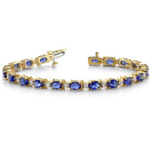 Elegant Diamond and Oval Colored Stone Bracelet 925 Silver Jewelry