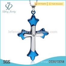 Hot venda de jóias de aço inoxidável mens cross pingentes para colares