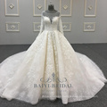 o neck crystal bead ball gown ivory lace simple wedding dress with long sleeve