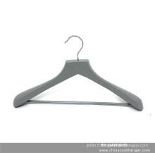 Cintre en bois gris de marque pour le costume avec barre de Jeans/Pantalons