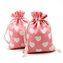 printed logo plain grocery cotton draw string gift bag bundle pocket pink canvas storage drawstring bag for kids