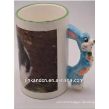 Haonai 11oz lovely animal handle ceramic mugs