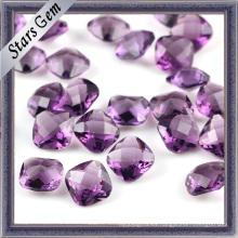 Double Checker corte diamante sintético de amatista para la joyería de moda