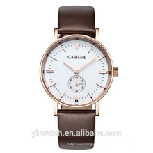 stainless steel case genuine leather strap japan movement 30 meter degree water resistant watches for men