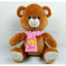 100%lovely cotton cartoon teddy bear plush with scarf