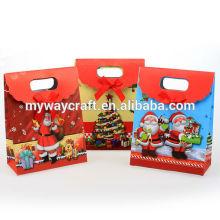 Design de nouveauté fermé manche rouge moulé coupe sac cadeau cadeau noël avec bowknot
