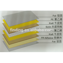 Reinforced aluminum foil scrim kraft (8 layers)/aluminum foil kraft paper laminate