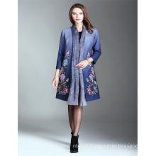 Outono Luxo Alibaba Impresso 2017 Mulher Trench Coat Azul