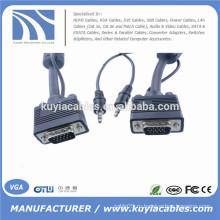 15PIN VGA / SVGA / RGB между мужчинами и стереофоническим аудиокабелем 3,5 мм для ПК
