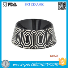 Black Round Shape Decorative Pattern Ceramic Dog Food Bowl