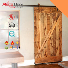 """36""""X84"""" Z Brace Blue Oil Stained Double Timber Barn Door With Black Sliding Door Hardware Sets"""