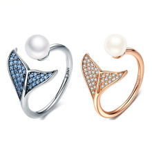 Dainty S925 Sterling Silver Platinum Plated Opening Inlaid Shell Zircon Mermaid Tail Ring