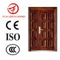 Puerta doble de acero de diseño de color de madera