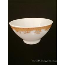 Bol à pied en porcelaine avec décalcomanie