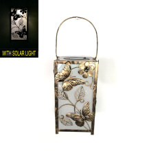 Solar Lighted Garden Decoration Metal Square Butterfly Lantern Craft