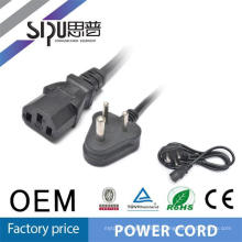 SIPU Small South Africa cable de alimentación India 3 pin Plug de cobre