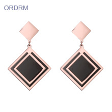 Rose Gold Square Geometric Dangle Earrings