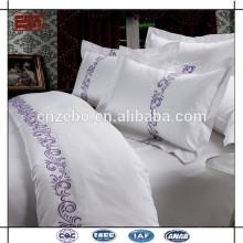 Logo de broderie personnalisé Housse d'oreiller en coton blanc
