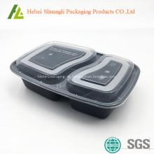 Schwarze Kunststoff-Lebensmittel-Behälter mit klaren Deckel