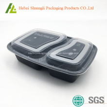 Black plastic food container with clear lid