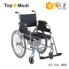 Topmedi Aluminium U-Form PU Sitz Toilettenstuhl Rollstuhl